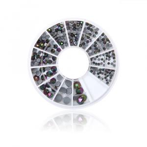 Kristalle schwarz multi | Rondell |Steinchen