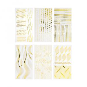 Sticker 12er Set Gold als Sticker/Slider für Nageldesigner & Nagelstudios