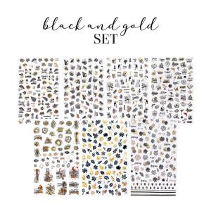 Sticker Black & Gold Set als Nailart Sets für Nageldesigner & Nagelstudios